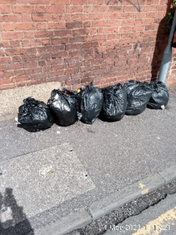 6 bags on Alpine street, Southampton Street end. Have investigated please clear. -202 Southampton Street, Reading, RG1 2RD