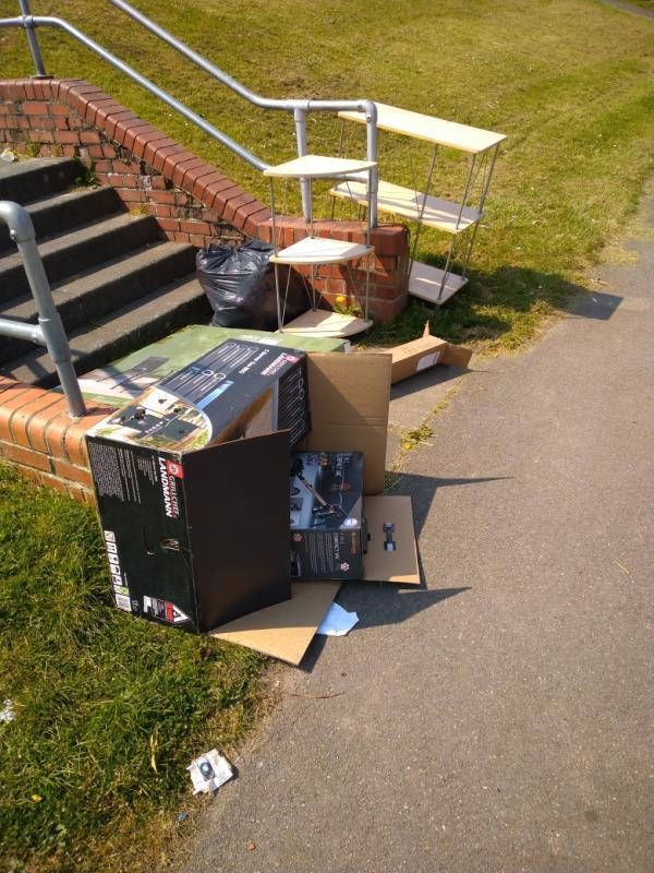 Fly tipped wast at the bottom of the steps near 234 rodway Road -207 Rodway Road, Reading, RG30 6EW