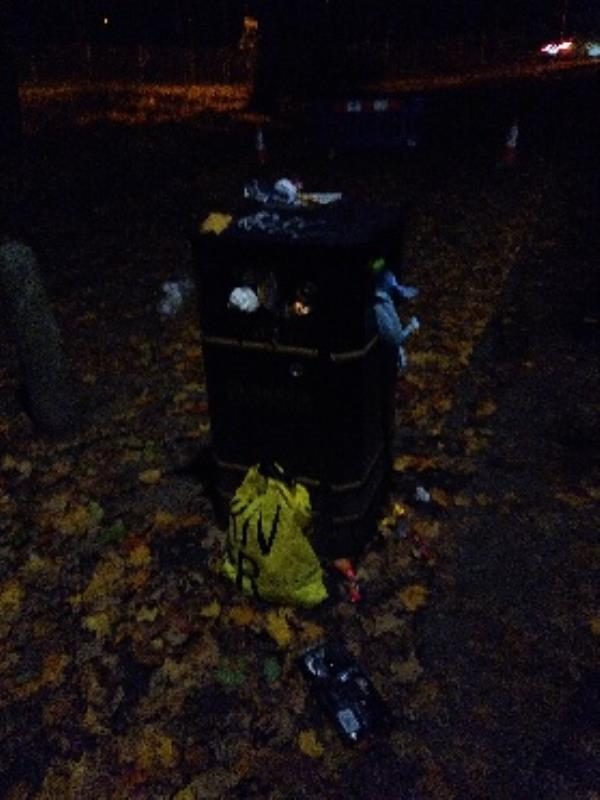 bin overflowing-Highgate Court, 119 Highgate Lane, Farnborough, GU14 8AA