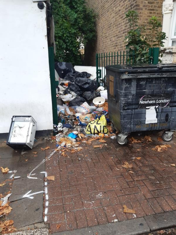 this is a complete health hazard   I just walked past it is full of flies and smells disgusting -3 Henderson Road, Upton Park, E7 8EG