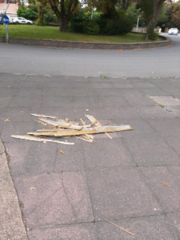 Seesl please remove the wood from the traffic island on Cavendish Place Roundabout-10 Upper Avenue, Eastbourne, BN21 3UU