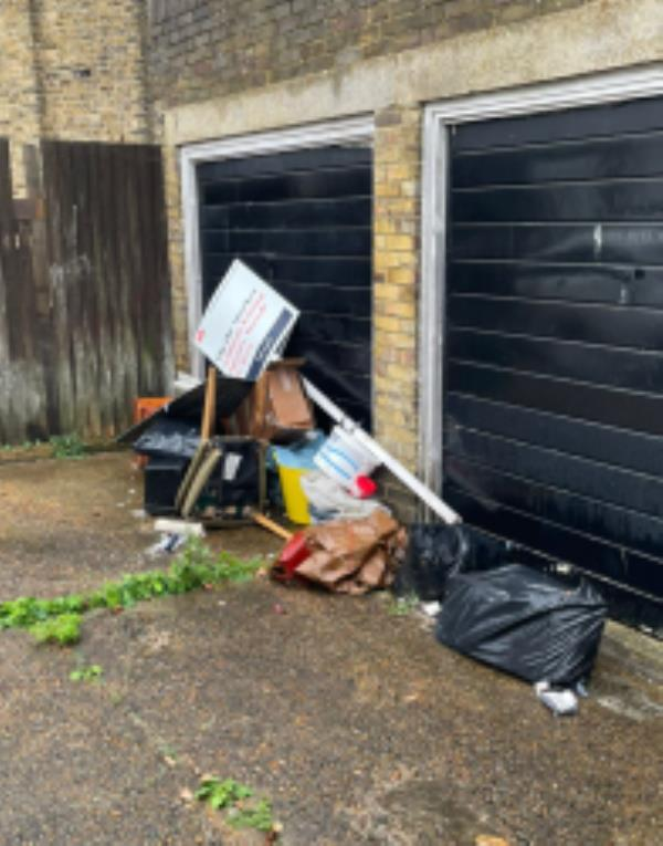 Rubbish is regularly dumped outside the garages, which attracts more fly-tipping.Reported via Fix My Street-16 Dundalk Road, Brockley, SE4 2JJ