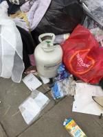 Large fly tip, gas canister amongst items image 1-Custom House Library Prince Regent Lane, Canning Town, E16 3JJ