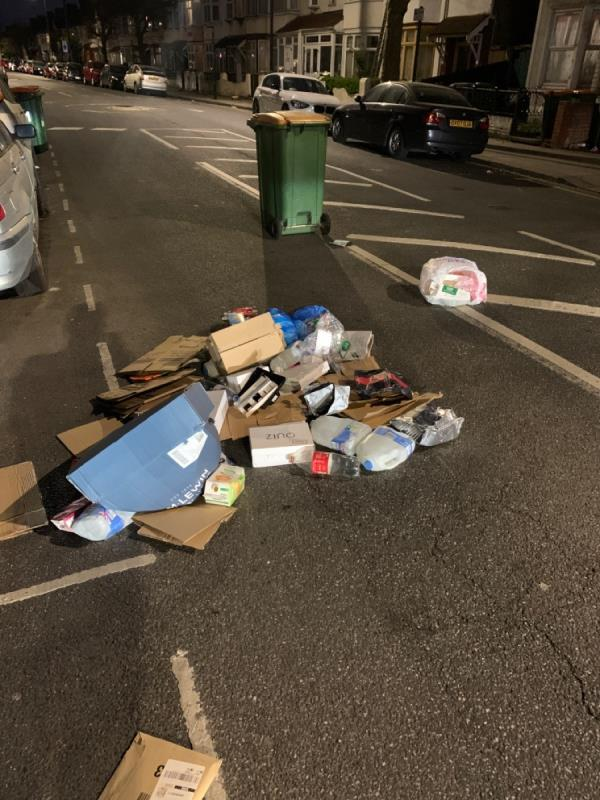 Rubbish dumped by bin lorry drivers and they left without collection  image 1-87 Central Park Road, East Ham, E6 3DW