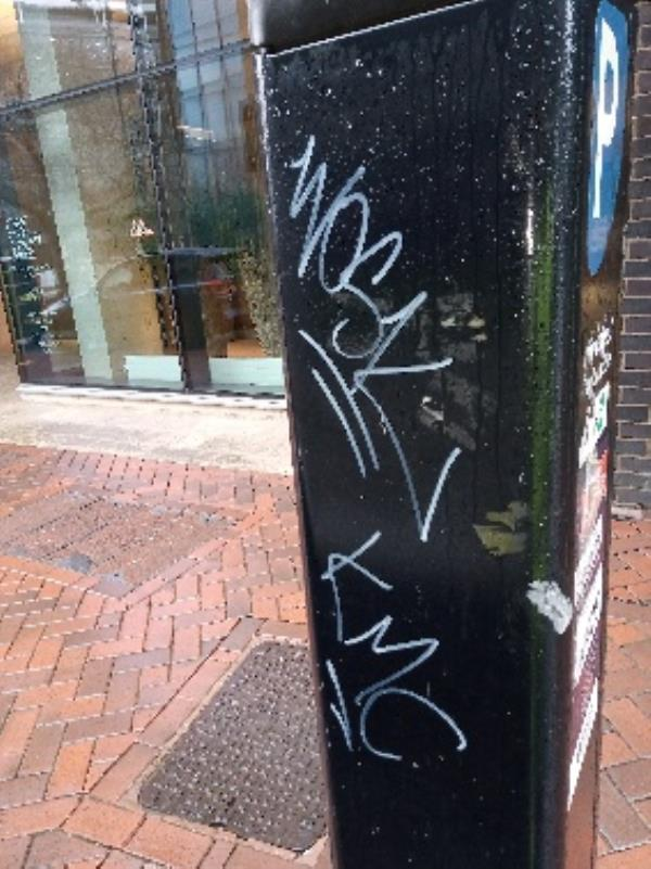Graffiti on the parking ticket machine -21-23 Valpy Street, Reading, RG1 1SB