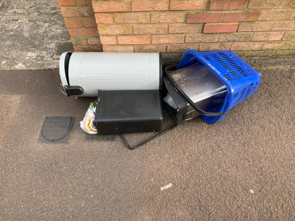 Asian male discarded a metal bin, 2 plastic bins and a small trolley / basket on the pavement outside of 71 Roman Road E6 3RY  Please arrange removal as items could roll into parked cars.  I am happy to be contacted or supply CCTV footage.  However, it would be difficult to ID the man unless already known.-71 Roman Road, London, E6 3RY