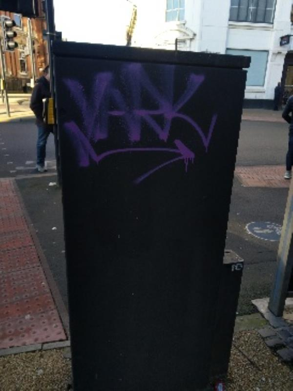 tagging on electric box on Welford Place-Welford Place (Stand EM), Leicester LE1 6ZH, UK