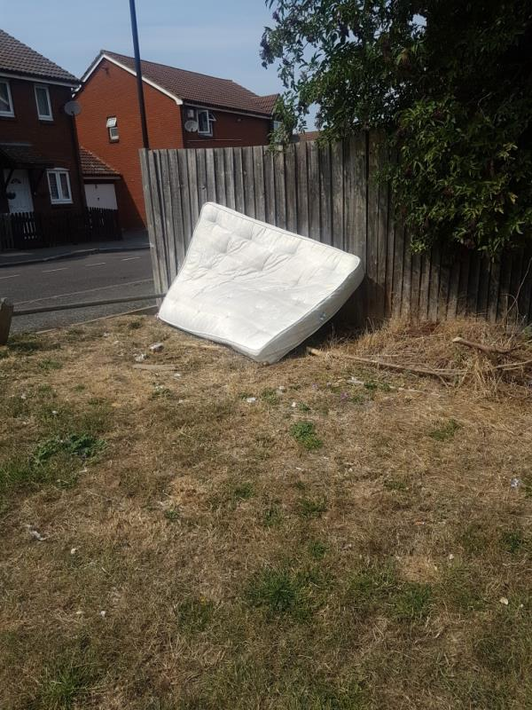 on open grass under pylons next to Barry Rd. double mattress.  This is 3rd time I have reported this.   I got an email this afternoon saying job not done as they couldnt get access but the mattress is on open grassland!-25 Barry Road, London, E6 5TA
