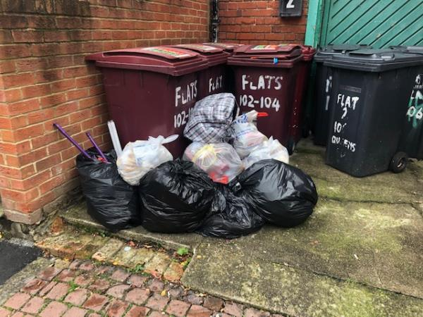 This weeks dumped rubbish - including food waste - rat and fox heaven.-6a St Johns Street, Reading, RG1 4EH