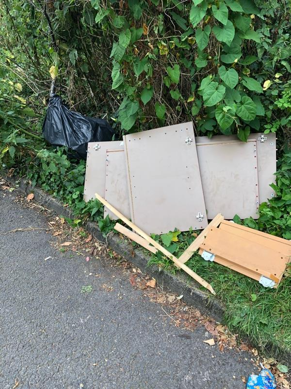 Opposit 8 Springfield Ave someone has dumped some old kitchen doors and a full black bin liner.   No information on who dumped it but it would have been in the last 24 hrs b-34 Muswell Hill, London, N10 3TA