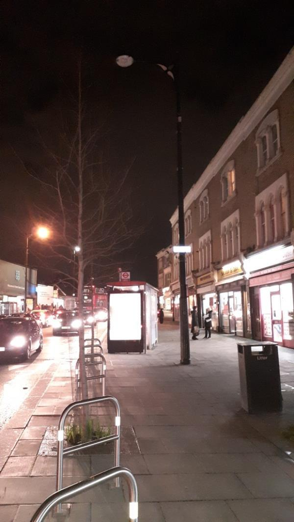 four streets lights are off.  dark in the street. dangerous. -46b Woodgrange Road, London, E7 0QH