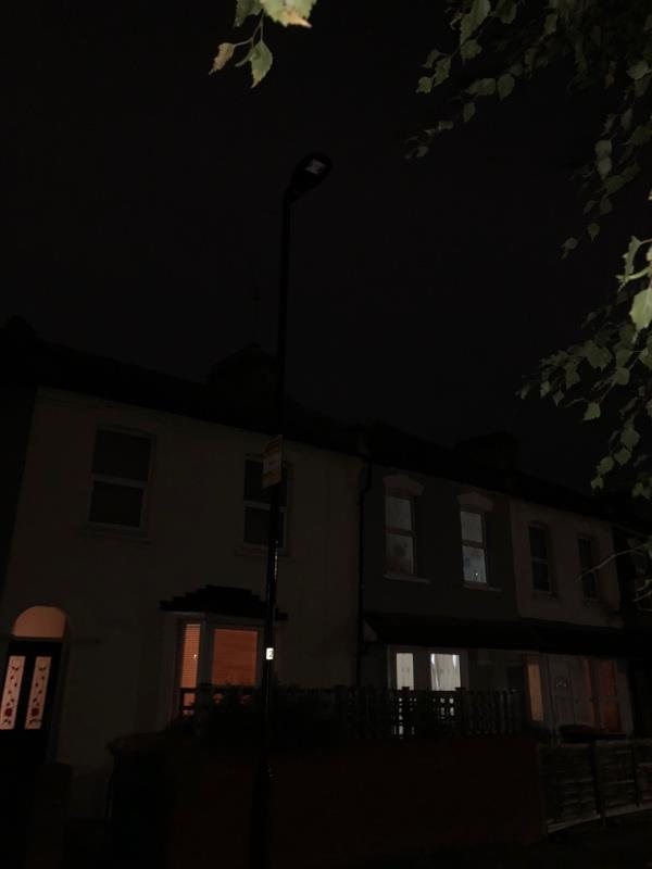 Streetlight not working -19 Chestnut Avenue, London, E7 0JQ