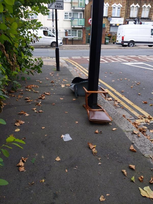 Chair and rubbish-2 Ladysmith Ave, London E6 3AR, UK
