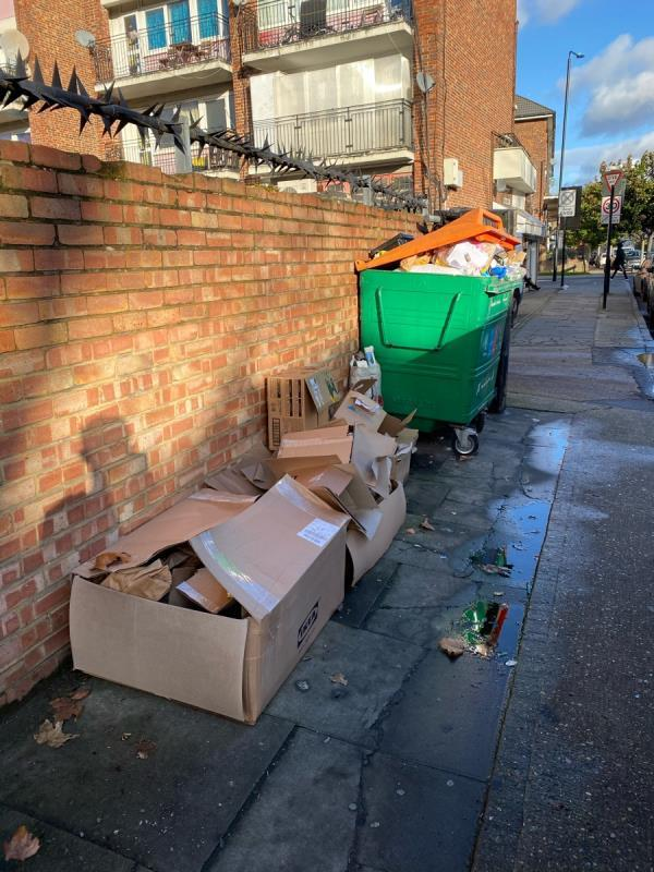 More rubbish tipped next to a recycling bin. One of the pieces has a name and address on it which I've provided. Please can you use this to prosecute? image 1-21 Willis Road, London, E15 3HH