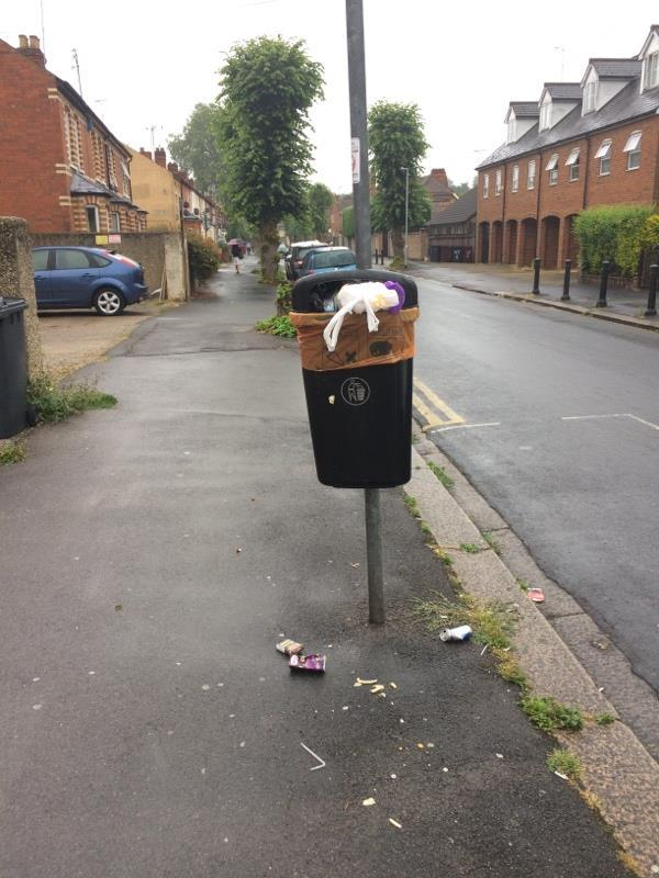 Dog waste bin full of rubbish. Overflowing rubbish on ground-56a Prince of Wales Avenue, Reading, RG30 2TP