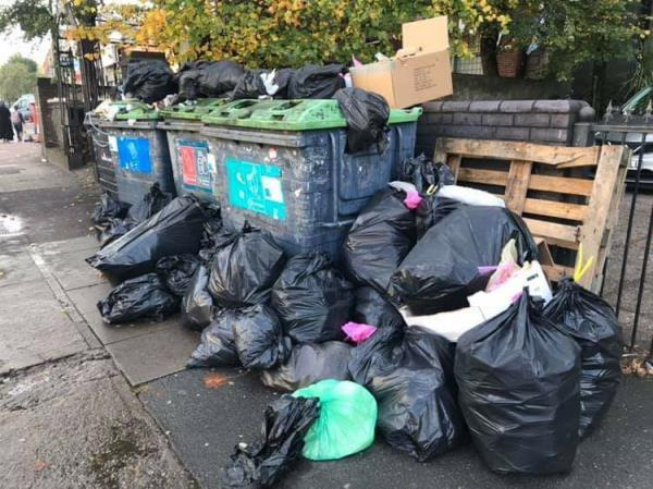 Some one has fly tipper loads of bags of rubbish by the recycling bins-252-262 Romford Road, London, E7 9HZ