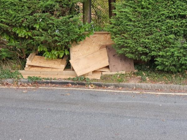 At 21:59 on the evening of Monday 28th October 2019, after hearing a noise outside, I looked out of an upstairs window of my house and witnessed two of my neighbours unload some rubbish from the back of their van and dump it on the grass verge between the trees behind the van. I have attached a photo of the rubbish. The van is question is a blue Ford Transit registration LO08 XGY and the owner(s) live/stay at 47 St Josephs Road (GU12 4LQ).  I also have a security camera outside my house that caught them in the act. I have saved the footage to my computer should you wish to see it.-47 St Josephs Road, Aldershot, GU12 4LQ