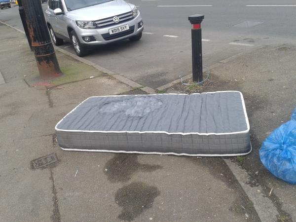 Junction of Rangefield Road. Please clear a single mattress-88 Downham Way, Bromley, BR1 5NX