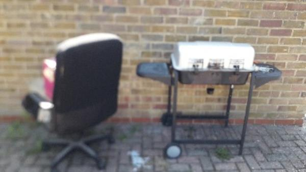 "bbq grill,cgair, pillows and box full of CD""s at the junction Gorse Close off Radland road  E16-14 Forty Acre Lane, London, E16 1QT"