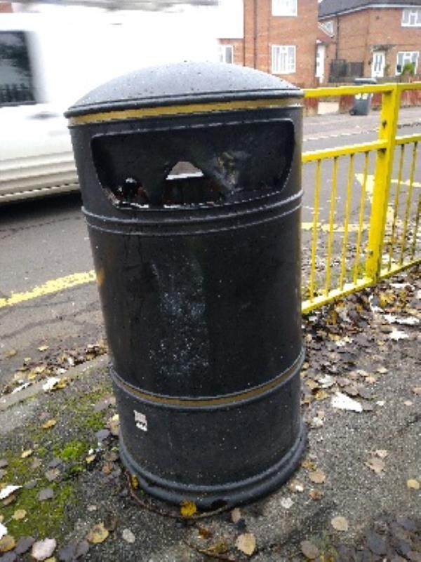 Litter bin outside the school in Brixham Road has been burnt out. Now both bins are out of use -95 Brixham Road, Reading, RG2 7RB