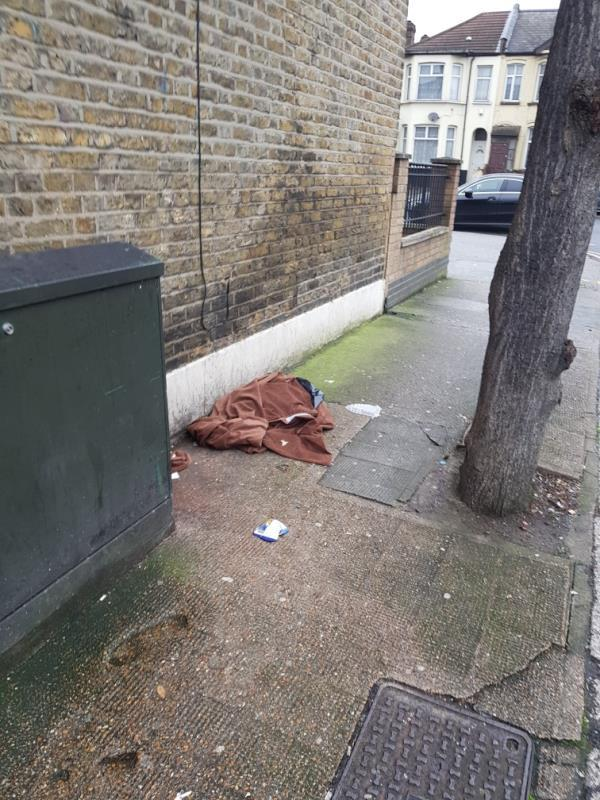 Large amount of rubbish and food waste dumped on pavement. Not only illegal but is creating an environmental hazzard. image 1-2 Seventh Avenue, London, E12 5JQ