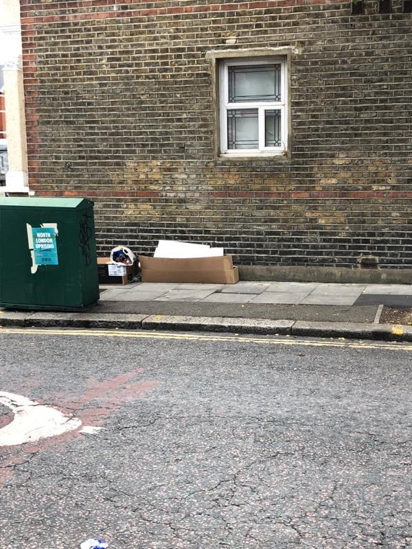 More dumped rubbish at start of Effingham road -625 Green Lanes, London, N8 0RE