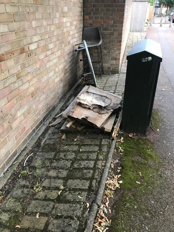 Pile of wood already reported. Not collected although I had email to Say report completed.  Now more rubbish there. -92 Devenay Road, London, E15 4AZ