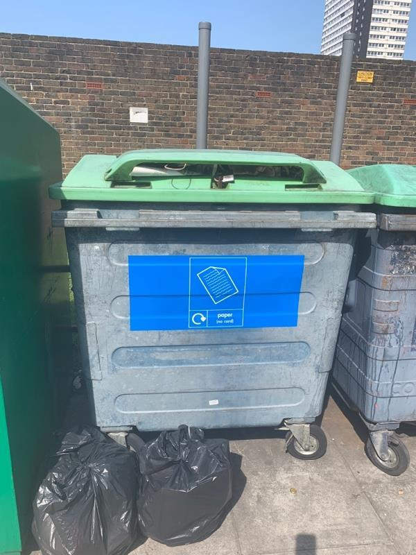 Paper recycling bin full and fly tipping -34 Gibbins Rd, London E15 2HU, UK