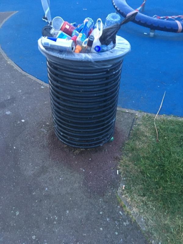 Odessa Open Space- bins overflowing with beer cans & glass brandy bottles. Also dog poop bags. Empty the bins , it's alwful -55 Odessa Road, London, E7 9BQ