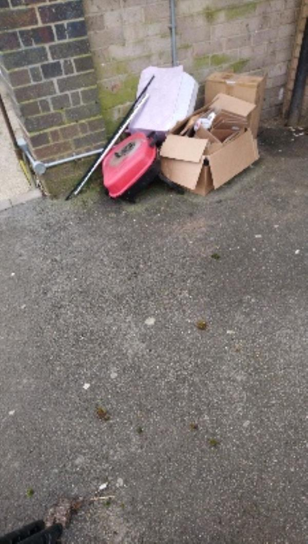 Fly tip in refuse area of 89-141 Stanhope Rd Rothbury Court -131 Rothbury Court Stanhope Road, Reading, RG2 7UB