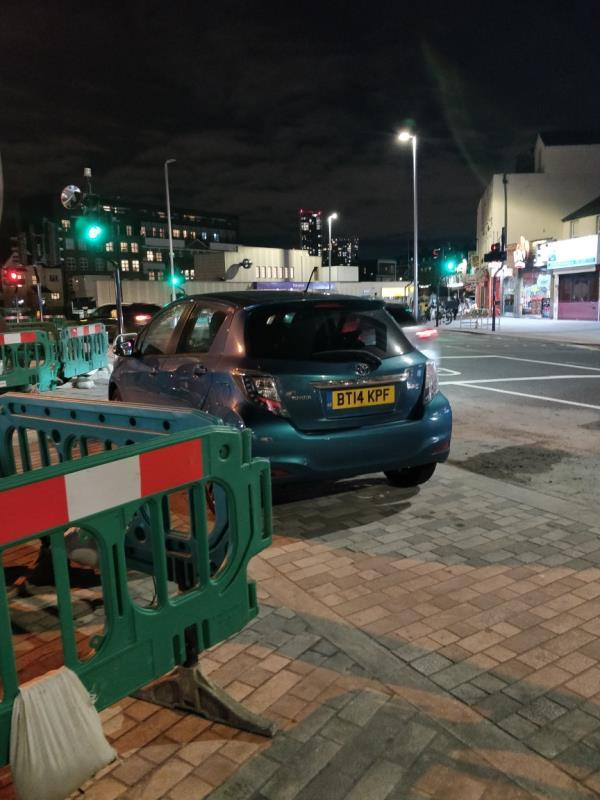 Car illegally parked on the pavement beside Ibex House, Leytonstone Road E15-Ibex House, 1 Forest Lane, London, E15 1SE