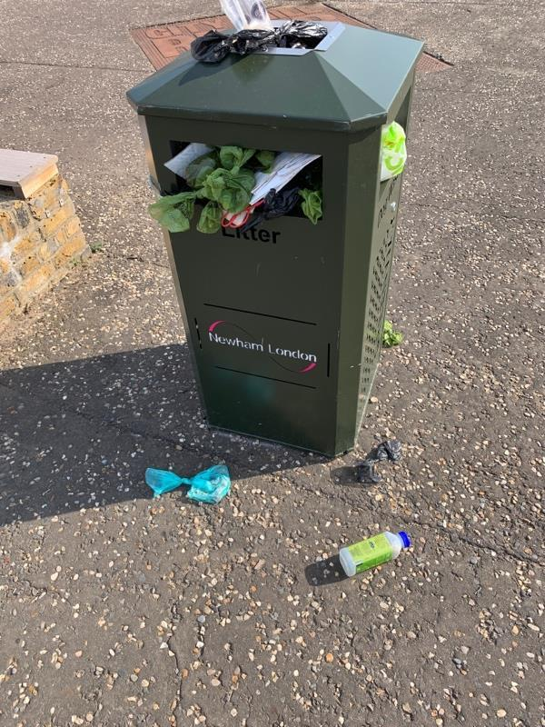 Another overflowing bin on the Greenway...-62 Otter Close, London, E15 2PZ