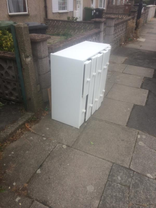 Please clear dumped wooden unit-173 Farmfield Road, Bromley, BR1 4NQ
