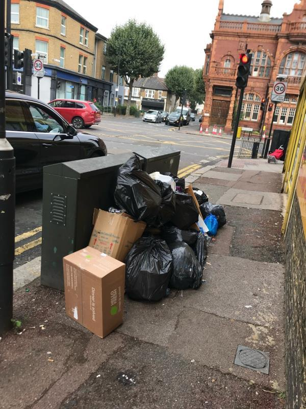 Can you please remove this mountain of shit that has been here for days and reported numerous times? Piles of Rubbish dumped by a house on the other side as well. -1 Fourth Ave, London E12 6DB, UK