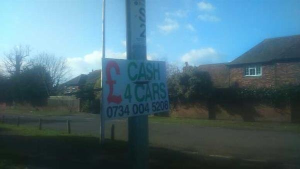 fly-poster on the sign -Calcot Cottage New Lane Hill, Reading, RG30 4HY