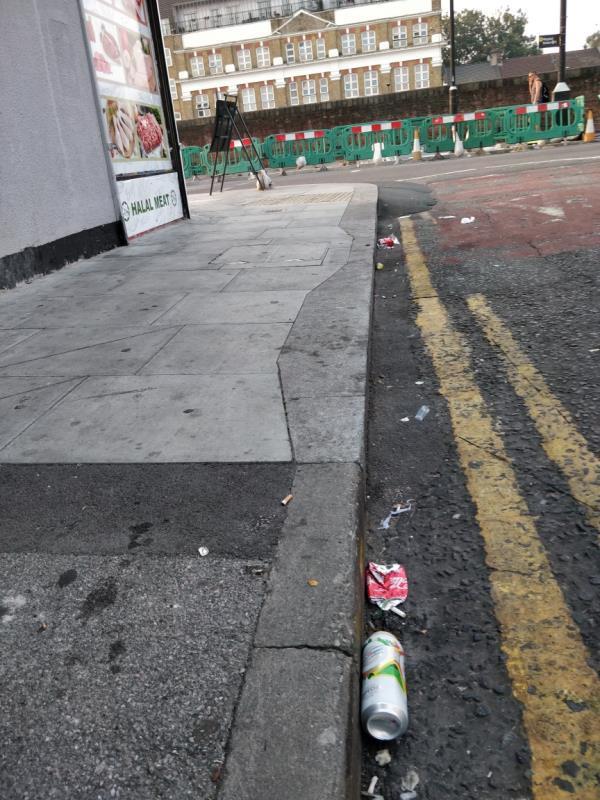 Alcohol related litter at Francis Street off Leytonstone Road beside 23-25 Leytonstone Road E15-59a Leytonstone Road, London, E15 1JA