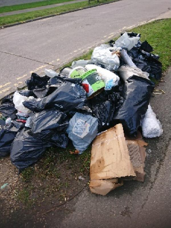 Pile of rubbish on pavement -A1 Acre Road, Reading, RG2 0QN
