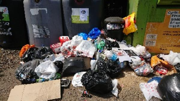 Bins over full and culmination of rubbish built up around bin now cleared large amount -151 Bath Road, Reading, RG30 2ND