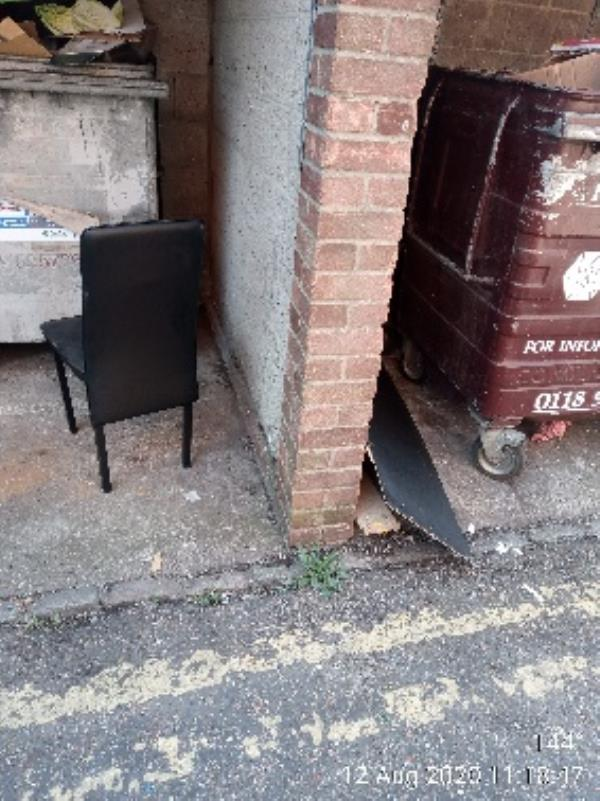 Please collect. Chair and bits of wood from bin store of 125 Basingstoke Road -169 Basingstoke Road, Reading, RG2 0DY