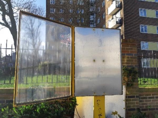 FLADBURY Rd.. outside Eckington Hse. Gardens. Notice Board broken up, because of recent winds. Falling apart!  Needs to be replaced.-Eckington House Fladbury Road, London, N15 6SH