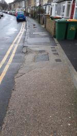 I would like to pay Newham councils attention that #24 Chestnut avenue (E7) private dropped driveway kerbs which go through public footpath might be built not by the regulations, criteria or standards. The slope – The drop of these dropped kerbs are too steep and also damaged and it's difficult and uncomfortable for pedestrians to walk and use it. If you carry something heavy, shopping bags all the weight goes on one leg because of the steep slope and very different pavement surface level image 1-22a Chestnut Avenue, London, E7 0JH