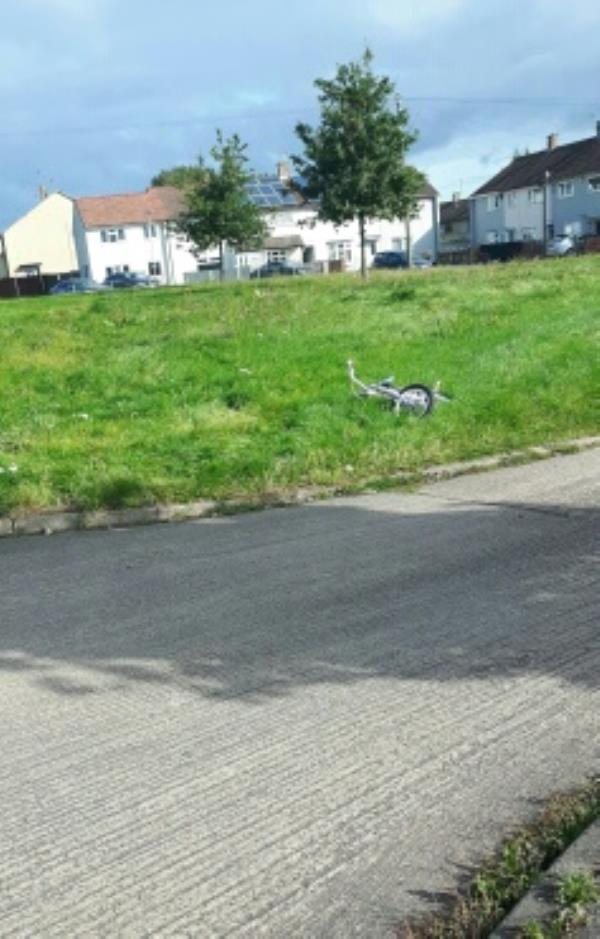 Child's bike abandon on grassed area.-104 Glenhills Boulevard, Leicester, LE2 8UD