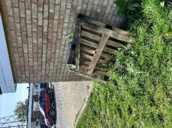 Can someone please collect flytipped pallet ( march 21)and timber by the side of garage opposite 39 bodiam crescent  Regards   Gary Batchelor senior advisor  Neighbourhood first-12 Bodiam Crescent, Eastbourne, BN22 9HQ