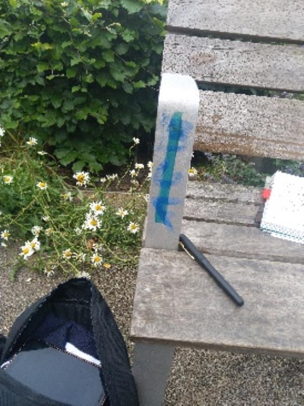 graffiti on chair arm in cathedral gardens-17 New Street, Leicester, LE1 5FX