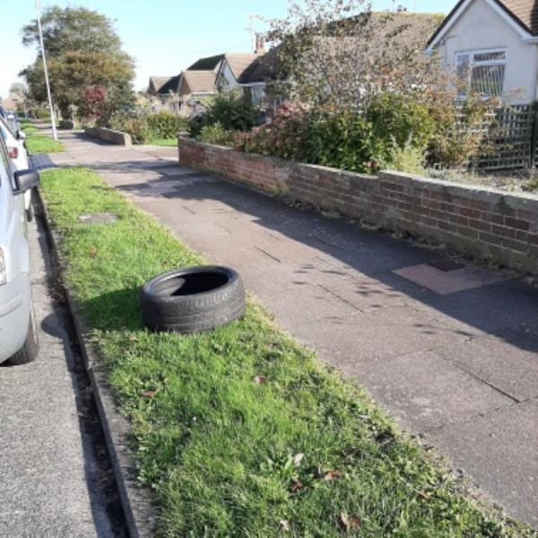 SEESL - 22/10/19. Fly-tip. Tyre outside 39 Selmeston Road on grass verge.  please clear.-39 Selmeston Road, Eastbourne, BN21 2ST