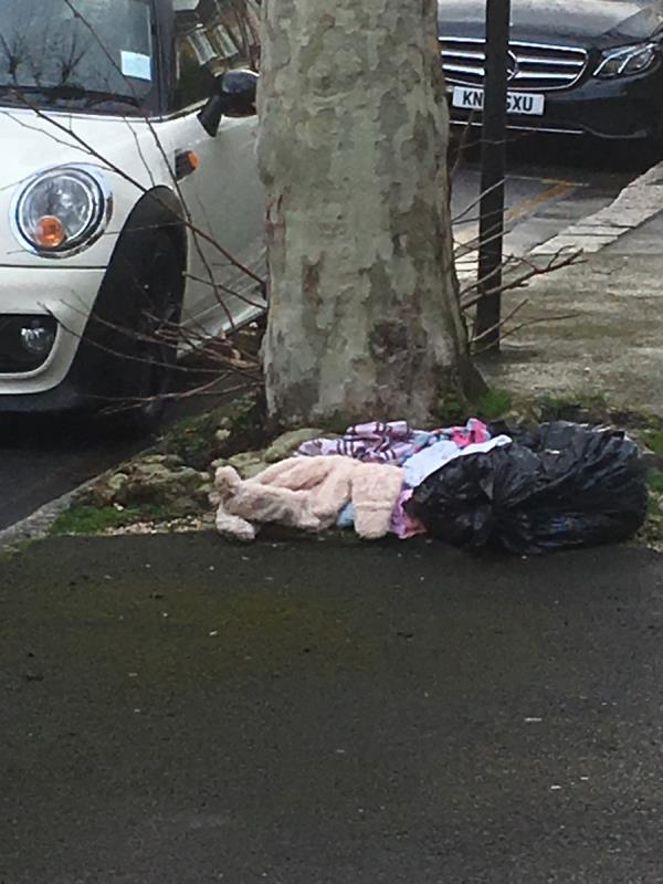 Bags of clothes on EARLHAM GROVE-28 Earlham Grove, London, E7 9AW