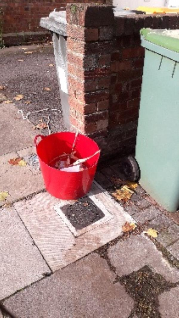 red bucket on public road-102 Gurney Road, London, E15 1SL