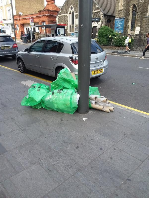 Bin Bags and Litter left at this location-180 The Grove, London, E15 1NS