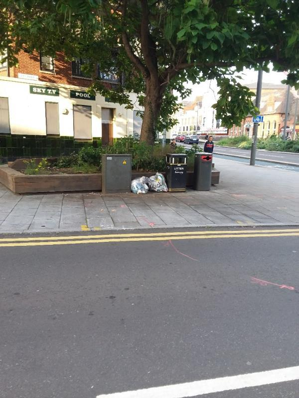 Bin Bags and litter at this location-2 Lett Rd, London E15 2RA, UK