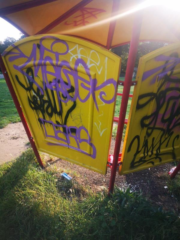 graffiti on children's play area-417 London Road, Reading, RG1 3PA
